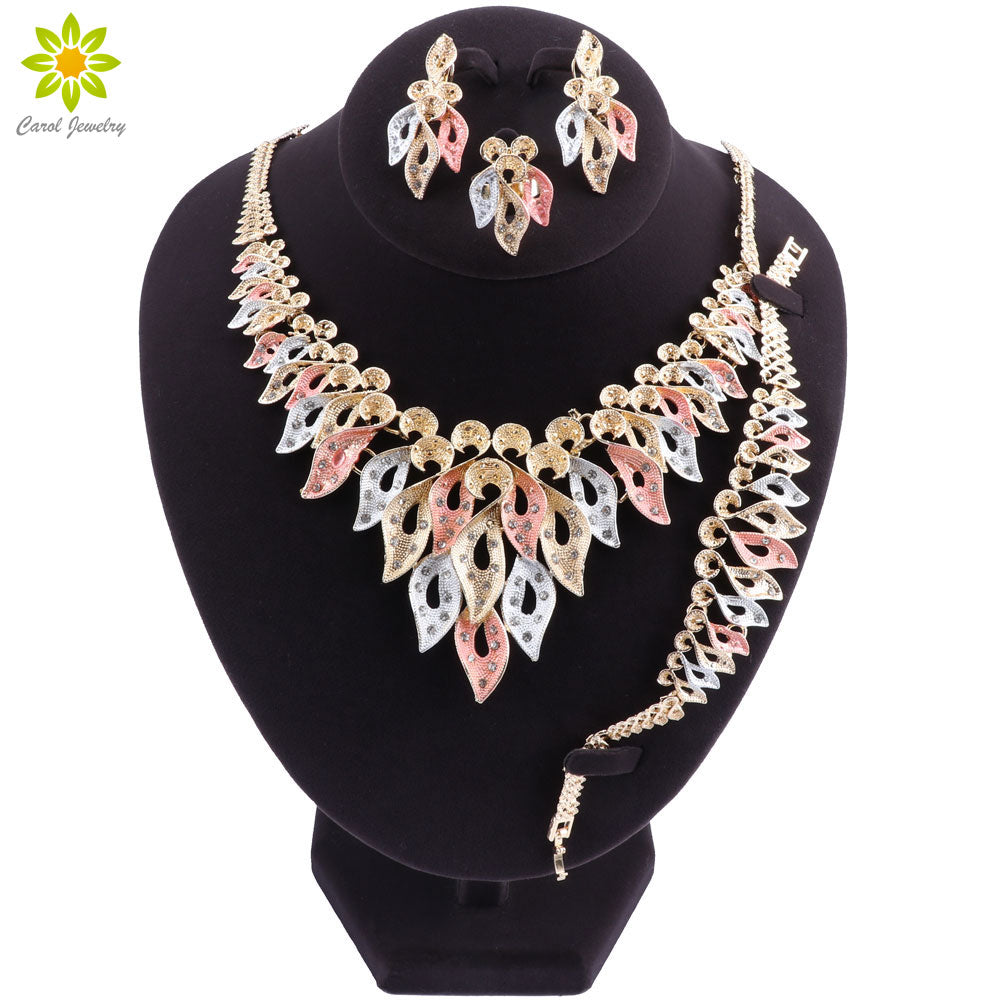 Indian Dubai Gold Jewelry Sets for Women Wedding African Beads Set Jewelry Bridal Necklace Earrings Jewellery - Y O L O Fashion Store