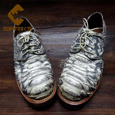 SIPRIKS Mens Sewing Welted Shoes Italian Men Python Skin Dress Shoes Hipster Snakeskin Gents Suit Shoes Mens Animal Skin Shoes