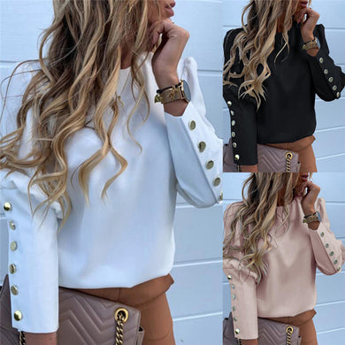 Women Long Sleeve Slim Print Buttons Shirt Blouses Tops OL Puff Sleeve Suit Work Formal Business Shirt Blouses Outwear Tops 2019