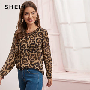 SHEIN Multicolor Mesh Insert Leopard Print Top Sheer Blouse Women Spring Summer V Neck Office Ladies Casual Blouses - Y O L O Fashion Store