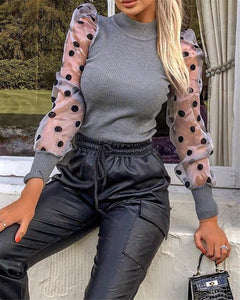 Women Spring Mesh Puff Long Sleeve Ribbed Knitted Shirt Loose Casual Polka Dots Blouse Tops Elegant Turtleneck Party Clubwear - Y O L O Fashion Store