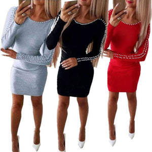 Women Shoulder Beading Bodycon Mini Dress Ladies Evening Party Autumn Long Sleeve Knitted Skinny Casual Pencil Dresses Vestidos - Y O L O Fashion Store