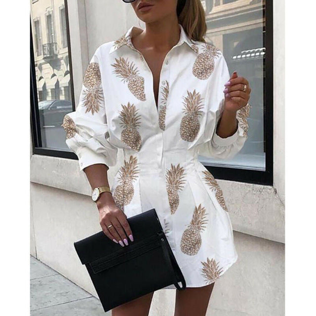 Pineapple Letter Autumn Dresses For Women Clothes 2019 Long Sleeve Turn Down Collar Button Shirt Dress Woman Print Mini Dress - Y O L O Fashion Store