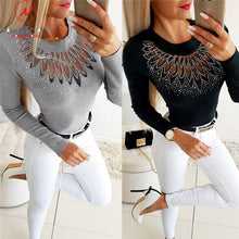 Load image into Gallery viewer, Elegant Women Autumn Winter Slim T-Shirts Patchwork Hollow Out Design Beading Decor See Through O-Neck Long Sleeve Solid Top - Y O L O Fashion Store