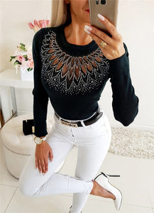 Elegant Women Autumn Winter Slim T-Shirts Patchwork Hollow Out Design Beading Decor See Through O-Neck Long Sleeve Solid Top - Y O L O Fashion Store