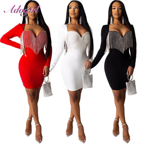 Sexy Crystal Diamonds Tassel Bodycon Evening Party Club Mini Dress Women Elegant Long Sleeve Deep V Neck Dresses Outfit Vestidos - Y O L O Fashion Store