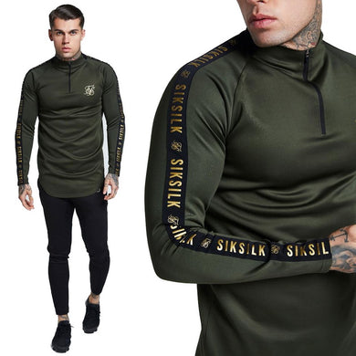 2019 New Fashion Men Sik Silk Embroidery Solid Color Elastic T-shirt High Zipper Collar Elastic Long-Sleeved Army Green Black