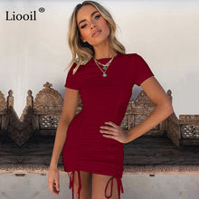 Load image into Gallery viewer, Liooil Sexy Ruched Bodycon Mini Dress 2020 Short Sleeve O Neck Black White Bandage Tight Fitted Dresses Woman Party Night Club - Y O L O Fashion Store