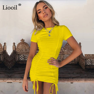 Liooil Sexy Ruched Bodycon Mini Dress 2020 Short Sleeve O Neck Black White Bandage Tight Fitted Dresses Woman Party Night Club - Y O L O Fashion Store