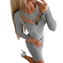 Load image into Gallery viewer, Solid Femme  Women Long  Sleeve Sexy Dress Ladies Casual Hollow Dress vestidos de fiesta de noche Casual Autumn  Winter Dresses - Y O L O Fashion Store