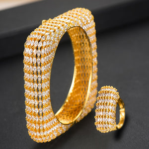 GODKI Luxury Square 2pcs Bangle Ring Set For Women Full Micro Cubic Zircon Pave Party Wedding Saudi Arabic Dubai Jewelry Sets - Y O L O Fashion Store