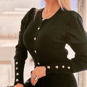 5XL Women Shirts 2020 Spring V-neck Metal Buttons Ribbed Knitted Blouse Fashion Long Sleeve Solid Plus Size Tops Autumn Pullover - Y O L O Fashion Store