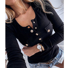 Load image into Gallery viewer, 5XL Women Shirts 2020 Spring V-neck Metal Buttons Ribbed Knitted Blouse Fashion Long Sleeve Solid Plus Size Tops Autumn Pullover - Y O L O Fashion Store