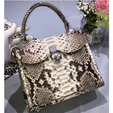 Fashion Serpentine Designer Genuine Python Leather Women's Purse Handbag Exotic Snakeskin Single Cross Shoulder Bag