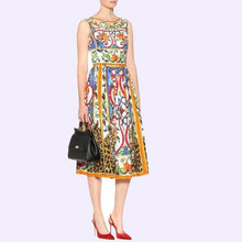 Load image into Gallery viewer, Plus Size Dress Summer Dress For Women Sexy Sleeveless Retro Print O Neck Dress Big Swing Floral Vintage Elegant Party Dresses - Y O L O Fashion Store