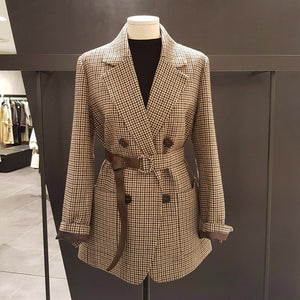 Vintage Double Breasted Office Ladies Plaid Blazer with belt Long Sleeve  Houndstooth Suit Coat Jacket Women blazers Female - Y O L O Fashion Store