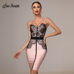 2019 New Women'S Autumn  Pink Tight Dress Lace Stitching Spaghetti V-Neck Sexy Ladies  Knee-Length Bandage Christmas Dress - Y O L O Fashion Store