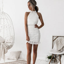 Load image into Gallery viewer, Lossky Sexy Lace Stitching Hollow Out Dress Elegant Women Sleeveless White Summer Chic Short Club Party Clothes Dresses 2020