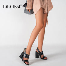 Load image into Gallery viewer, LALA IKAI Women 2020 Fashion Buckle Strap Sandals PU Leather Dress Sandals Lady Block High Square Heels Open Toe Shoes XWC6745-4