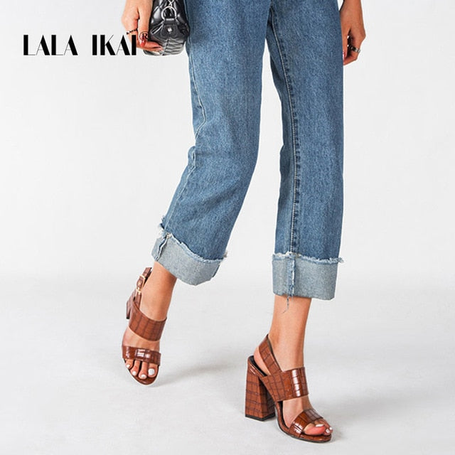 LALA IKAI Women 2020 Fashion Buckle Strap Sandals PU Leather Dress Sandals Lady Block High Square Heels Open Toe Shoes XWC6745-4