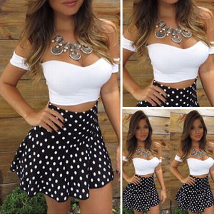 Evening Party Dress New Women Lady Dresses Short Sleeve Bodycon Casual Summer Costume White Polka Dot Short Mini Dress 2PCs