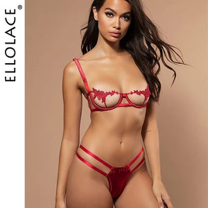Ellolace Sexy Underwear Women Set Mesh Lingerie 2 Piece Set See Through Bralette and Thong Bandage G-String Spaghetti Straps - Y O L O Fashion Store