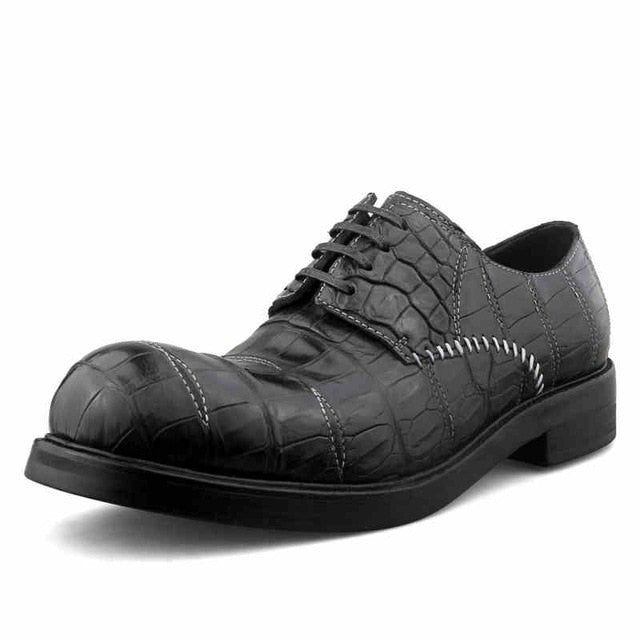 Designer Handmade Crocodile Leather Shoes Men Famous Brand Business Formal Derby Shoes Italian Real Leather Round Toe Dress Shoe