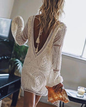 Load image into Gallery viewer, Ordifree 2019 Summer Women Beach Dress White Lace Boho Mini Dress Long Sleeve Sexy Backless Dress