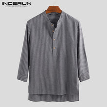 Load image into Gallery viewer, INCERUN 2019 Men Striped Shirt Stand Collar 3/4 Sleeve Button Camisa Pullover Vintage Brand Casual Shirts Men Harajuku Plus Size - Y O L O Fashion Store