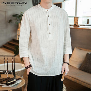 INCERUN 2019 Men Striped Shirt Stand Collar 3/4 Sleeve Button Camisa Pullover Vintage Brand Casual Shirts Men Harajuku Plus Size - Y O L O Fashion Store