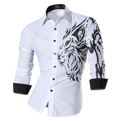 Jeansian Men's Fashion Dress Casual Shirts Button Down Long Sleeve Slim Fit Designer Tattoo Lion Z030 White2 - Y O L O Fashion Store