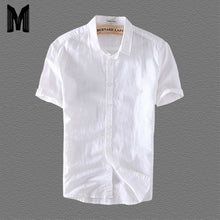 Load image into Gallery viewer, Linen Shirts Men Casual Short Sleeve 4XL Plus Size White Turn Down Collar Man Summer Hawaii Vacation Men's Shirt Y006 - Y O L O Fashion Store