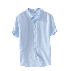 Linen Shirts Men Casual Short Sleeve 4XL Plus Size White Turn Down Collar Man Summer Hawaii Vacation Men's Shirt Y006 - Y O L O Fashion Store