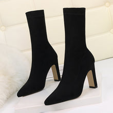 Load image into Gallery viewer, Plus Size High Heel Boots Sock Women 2019 Flock Shoes Sexy Party Thick Heel Ankle Booties Female Winter Pointed Toe Boots Shoes - Y O L O Fashion Store