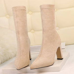 Plus Size High Heel Boots Sock Women 2019 Flock Shoes Sexy Party Thick Heel Ankle Booties Female Winter Pointed Toe Boots Shoes - Y O L O Fashion Store