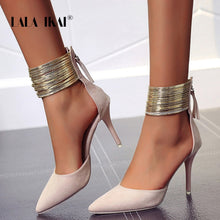 Load image into Gallery viewer, LALA IKAI 2019 Women Sandals Ankle High Thin Heels Pointed Toe Lace-up Party Wedding  Design Summer Women Shoes  XWC6501-4