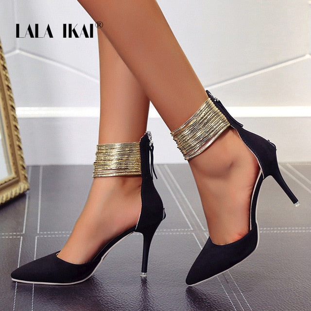 LALA IKAI 2019 Women Sandals Ankle High Thin Heels Pointed Toe Lace-up Party Wedding  Design Summer Women Shoes  XWC6501-4