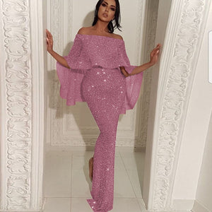 Shiny Elegant Sequin Off Shoulder Bodycon Evening Gown High Waist Zipper Back Solid 2019 Autumn Ruffles Sleeve Women Party Dress