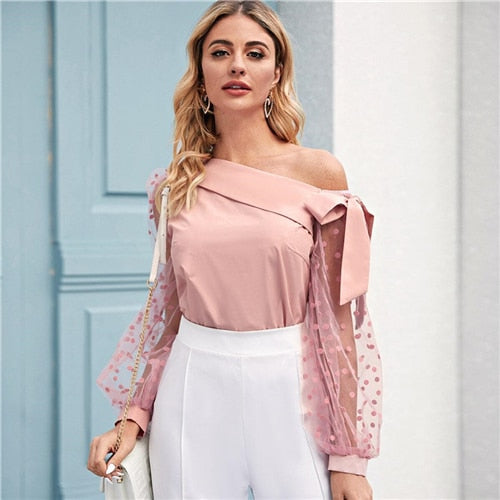 SHEIN Knot Asymmetrical Fold Neck Dot Lantern Mesh Sleeve Top Blouse Women Spring Summer Sheer Glamorous Party Blouses