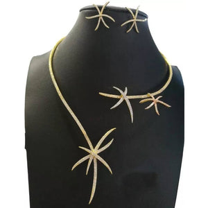 GODKI Luxury Starfish Necklace Earring Set African Jewelry Sets For Women Wedding Engagement brincos para as mulheres 2020 - Y O L O Fashion Store