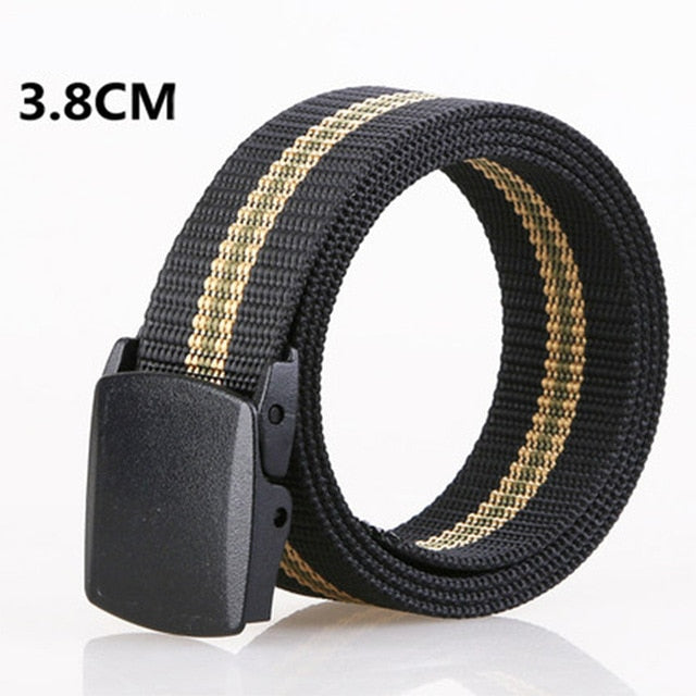 MINGLILONG Men's Canvas Belt Male Strap Military Training Outdoor Automatic Buckle Jeans