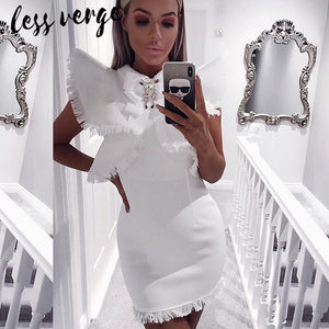 lessverge Sexy crystal tassel white bandage dress Women black pencil bodycon dress Autumn winter short fringe runway dress femme