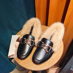 Metal chains leather flats winter loafers women shoes winter warm mules celebrity fur flat creepers soft heel moccasins mujer