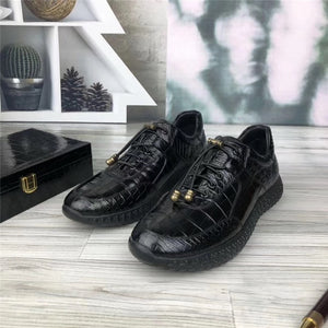 Authentic Crocodile Belly Skin Soft Rubble Sole Men's Casual Shoes Exotic Genuine Alligator Leather Male Elastic Band Shoes