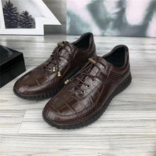 Load image into Gallery viewer, Authentic Crocodile Belly Skin Soft Rubble Sole Men's Casual Shoes Exotic Genuine Alligator Leather Male Elastic Band Shoes