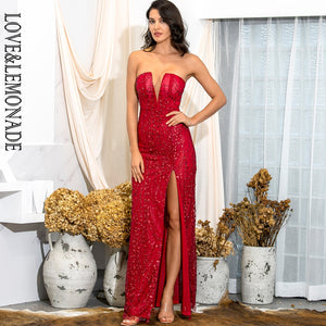 LOVE & LEMONADE Spring Tube Top Bodycon Red Glitter Glued Material Split Party Miax Dress LM82189 - Y O L O Fashion Store