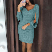 Load image into Gallery viewer, Dress Women Plus Size 3XL 11 Color Sexy V-Neck Solid Sequined Stitching Shining Club Sheath платье Long Sleeved Party Mini Dress - Y O L O Fashion Store