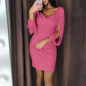 Dress Women Plus Size 3XL 11 Color Sexy V-Neck Solid Sequined Stitching Shining Club Sheath платье Long Sleeved Party Mini Dress - Y O L O Fashion Store