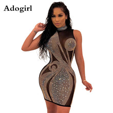 Load image into Gallery viewer, Crystal Diamonds Black Mesh Perspective Mini Dress Women Sleeveless Turtleneck Bodycon Dress Elegant Night Club Party Dresses - Y O L O Fashion Store