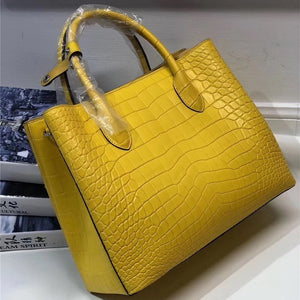 Authentic Real Crocodile Belly Skin Lady Large Yellow Purse Genuine Leather Handbag Women's Single Shoulder Bag